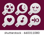 set of coffee stencils on a... | Shutterstock .eps vector #660311080