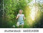 the child girl collects fluffy... | Shutterstock . vector #660314308