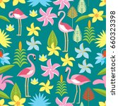 flamingo in flowers. vector.... | Shutterstock .eps vector #660323398
