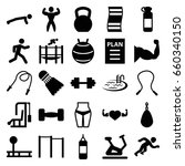 fitness icons set. set of 25... | Shutterstock .eps vector #660340150