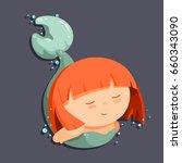 cute cartoon little mermaid...   Shutterstock .eps vector #660343090