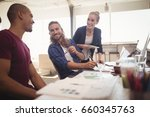 happy business colleagues... | Shutterstock . vector #660345763