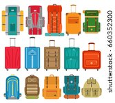 set of suitcases and backpack... | Shutterstock .eps vector #660352300