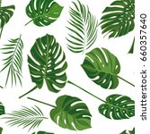 seamless hand drawn tropical... | Shutterstock .eps vector #660357640