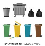 garbage cans and bags in flat... | Shutterstock .eps vector #660367498