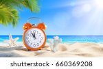 Small photo of Last Minute - Summertime Concept - Alarm In Tropical Beach