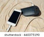 battery solar energy device on... | Shutterstock . vector #660375190