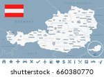 austria map and flag   vector... | Shutterstock .eps vector #660380770