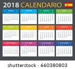 calendar 2018   spanish version ...   Shutterstock .eps vector #660380803