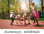 caucasian family playing... | Shutterstock . vector #660385660