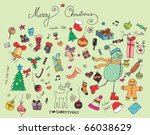 retro christmas set of elements | Shutterstock .eps vector #66038629
