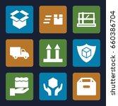 parcel icons set. set of 9... | Shutterstock .eps vector #660386704