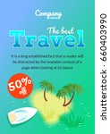 flyer with sea  palm trees and... | Shutterstock .eps vector #660403990