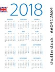calendar 2018 year   british... | Shutterstock .eps vector #660412684