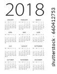 calendar 2018 year   vector... | Shutterstock .eps vector #660412753