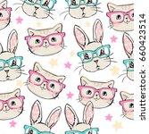 Stock vector rabbit with glasses and cat with glasses background vector seamless pattern with cat and bunny 660423514