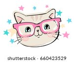 Stock vector cute cat sketch vector illustration children print on t shirt hand drawn cat with glasses 660423529