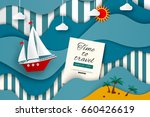time to travel. sailboat in the ... | Shutterstock .eps vector #660426619