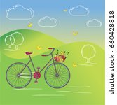vector bicycle with basket | Shutterstock .eps vector #660428818