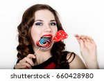 smiling girl with braces... | Shutterstock . vector #660428980