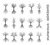 black naked trees and roots.... | Shutterstock .eps vector #660436450