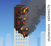 fire of the high rise building. ... | Shutterstock .eps vector #660446176
