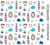 cute nautical seamless pattern... | Shutterstock .eps vector #660448210