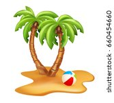 vector illustration of two palm ... | Shutterstock .eps vector #660454660