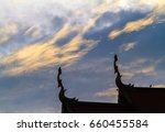 gable roof in thai temple and... | Shutterstock . vector #660455584