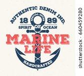 marine life  vintage typography ... | Shutterstock .eps vector #660459280