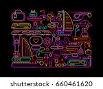 neon colors on a black... | Shutterstock .eps vector #660461620