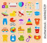 baby stickers. baby shower... | Shutterstock .eps vector #660462529