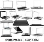 Collection Laptops On White...