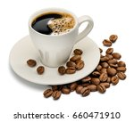 coffee cup and coffee beans on...   Shutterstock . vector #660471910