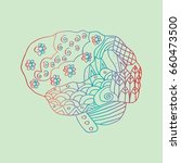 human brain zentangle | Shutterstock .eps vector #660473500