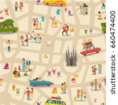 abstract map seamless vector... | Shutterstock .eps vector #660474400