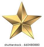 gold star isolated on white. 3d ... | Shutterstock . vector #660480880