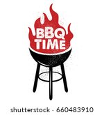 bbq time. hand drawn typography ... | Shutterstock .eps vector #660483910