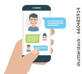 chatting with chatbot on phone  ...   Shutterstock .eps vector #660485914