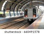 metro arriving at dwarka...