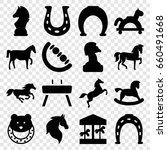 horse icons set. set of 16... | Shutterstock .eps vector #660491668