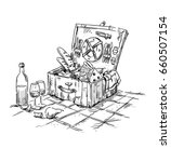 picnic hamper  lunch on the...   Shutterstock .eps vector #660507154