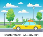 yellow taxi car. park with... | Shutterstock .eps vector #660507604