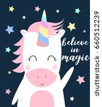 unicorn print design with...   Shutterstock .eps vector #660512239