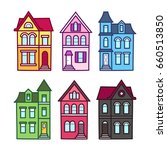 Old Victorian Houses  Vector...