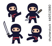cute cartoon ninja set with... | Shutterstock .eps vector #660513880