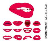 woman lips expression icons set....   Shutterstock . vector #660518560