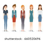 set of woman character in... | Shutterstock .eps vector #660520696