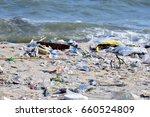 beach pollution. plastic... | Shutterstock . vector #660524809