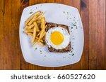 egg  steak and fries breakfast  ... | Shutterstock . vector #660527620